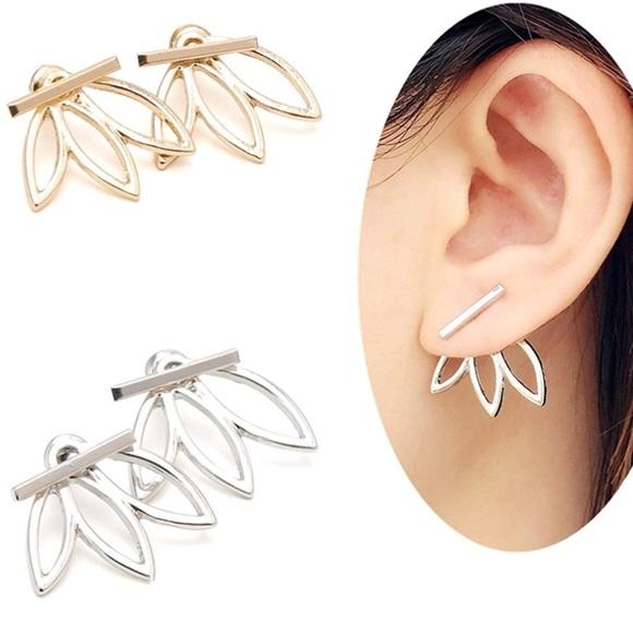 ef32775e9 Jewelry | New Silver Tone Lotus Stud Earrings Ear Jacket | Poshmark